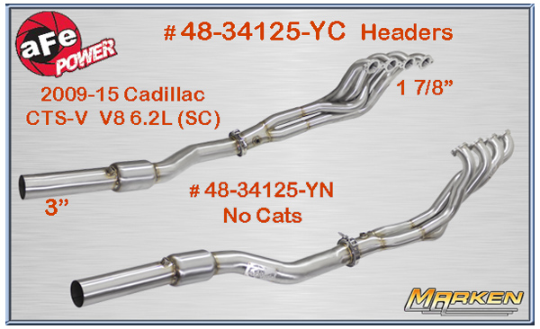 afe power headers and cat back for 2009 15 cadillac cts v. Black Bedroom Furniture Sets. Home Design Ideas