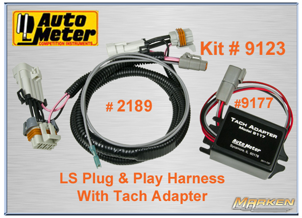 autometer ls and play harness with tach adapter