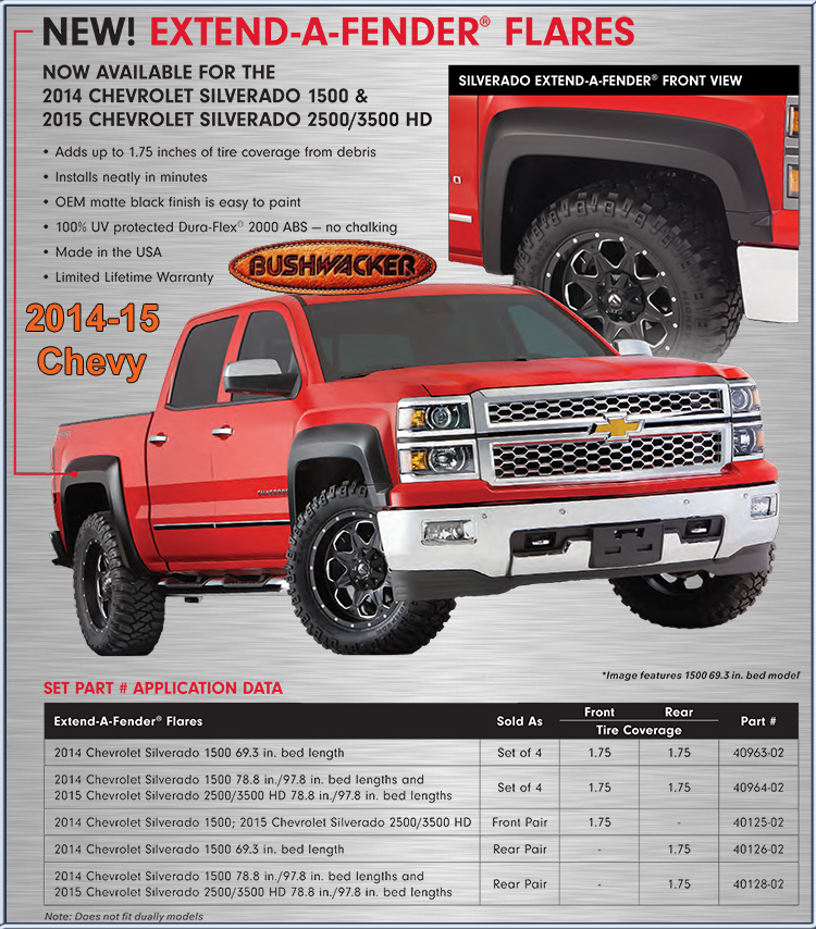 Bushwacker Fender Flares For The 2014 15 Chevy Pick Up