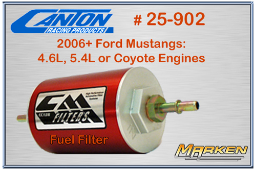 canton part # 25-902 is a efi inline fuel filter for 2006+ ford mustangs  with either 4 6l, 5 4l or coyote engines available via marken performance