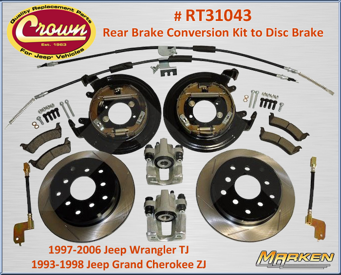 N 12725 Crown Brake Upgrade For Rear To Disc Brakes For Jeep Part Rt31043 on parking pad with storage