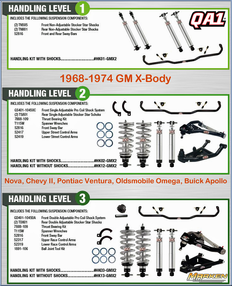 QA1 Front & Rear Suspension Kits for Drag Racing or Handling fits